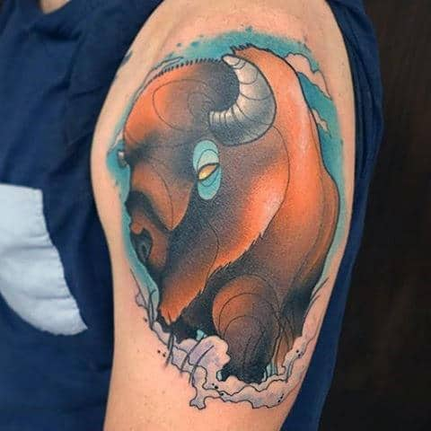 New School Cartoon Style Mens Upper Arm Bison Tattoos