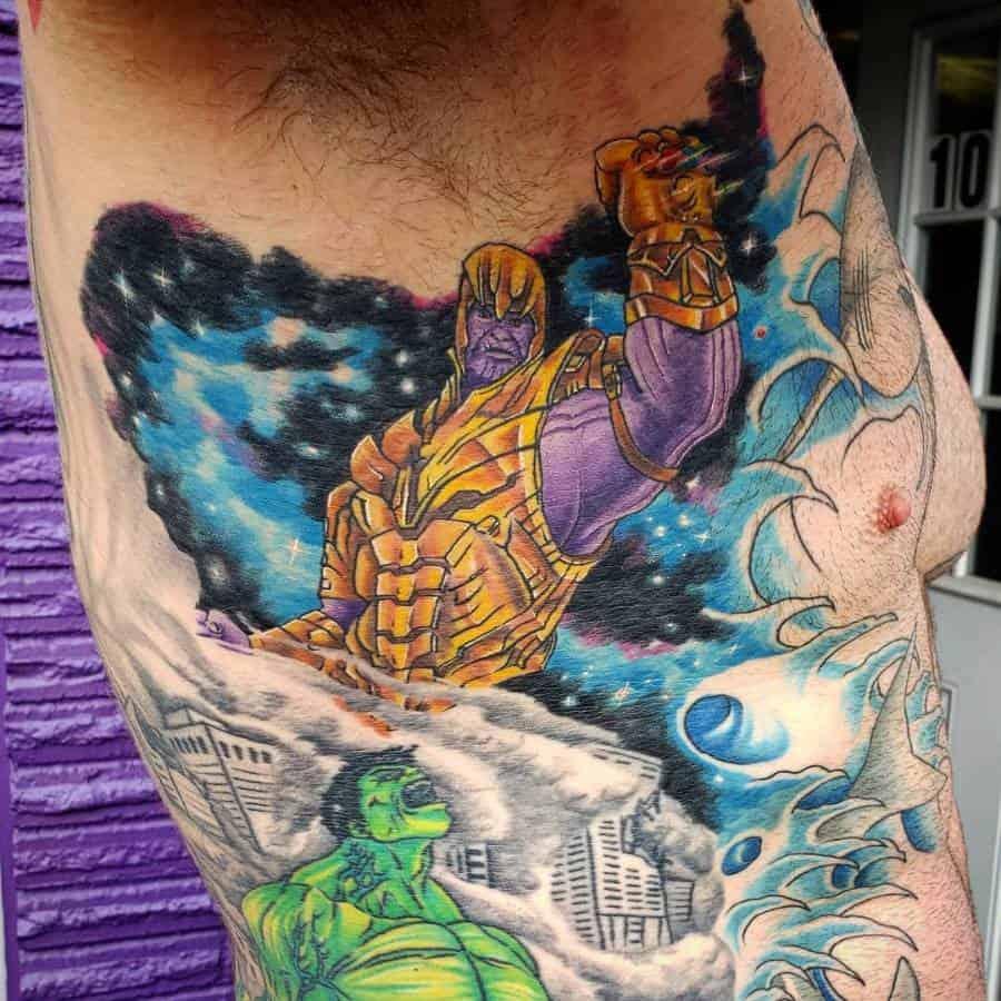 New School Cartoon Thanos Tattoo Biofx Tattoo