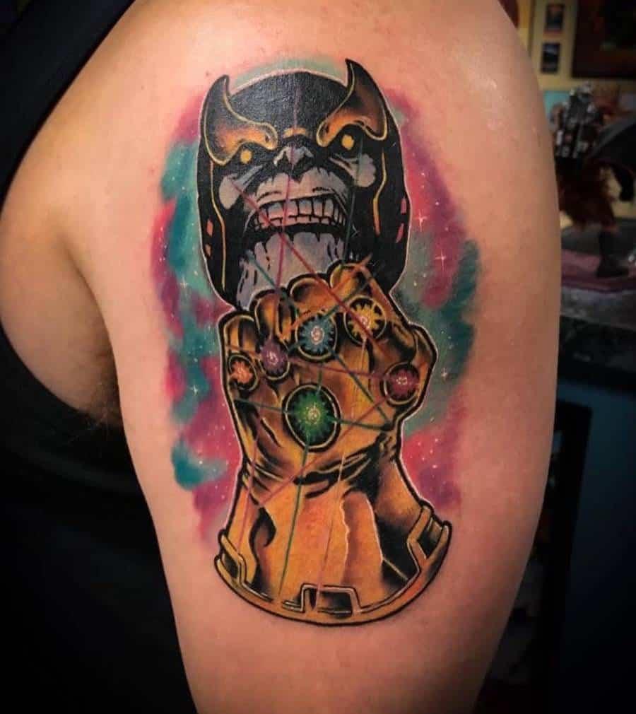 New School Cartoon Thanos Tattoo Brettstuhlertattoos
