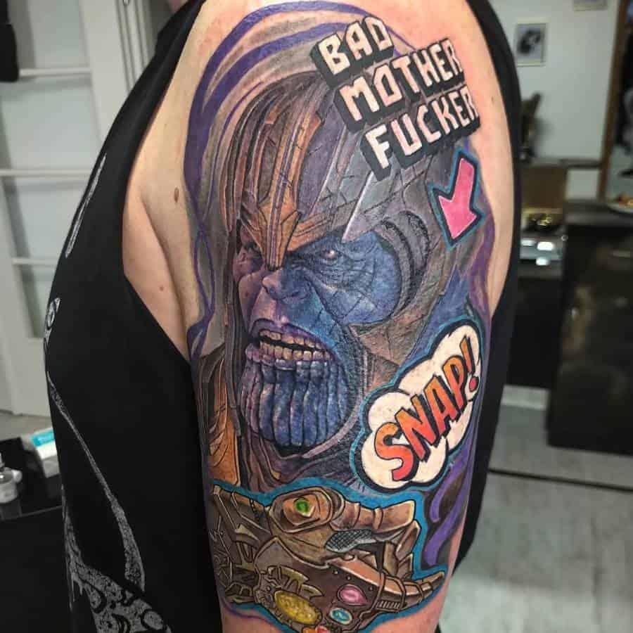 New School Cartoon Thanos Tattoo Buzovintattoo