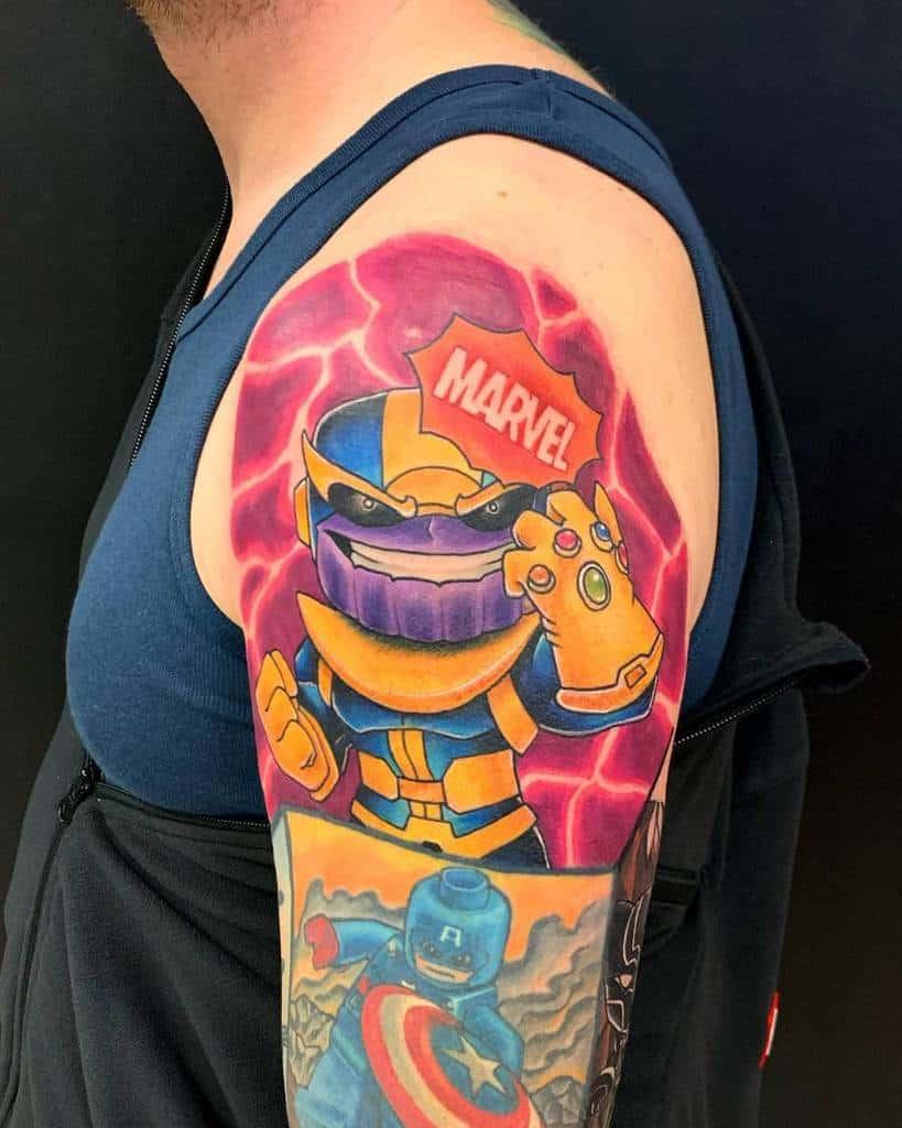 New School Cartoon Thanos Tattoo Edgar Tattoo
