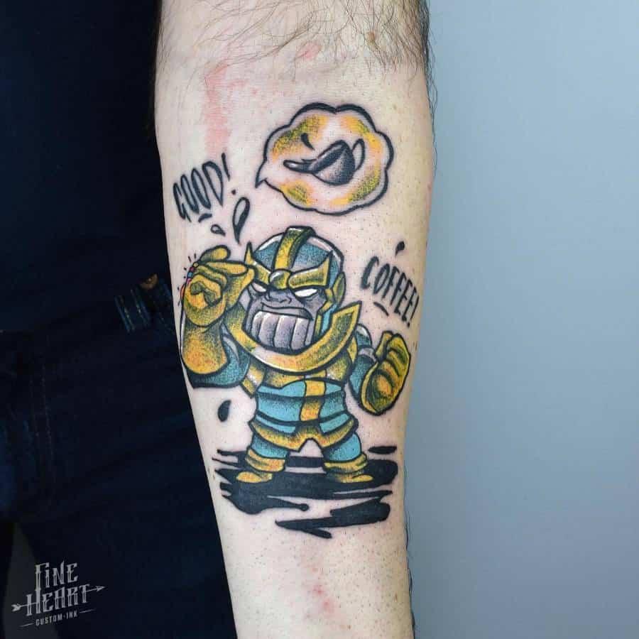 New School Cartoon Thanos Tattoo Fine Heart Custom Ink