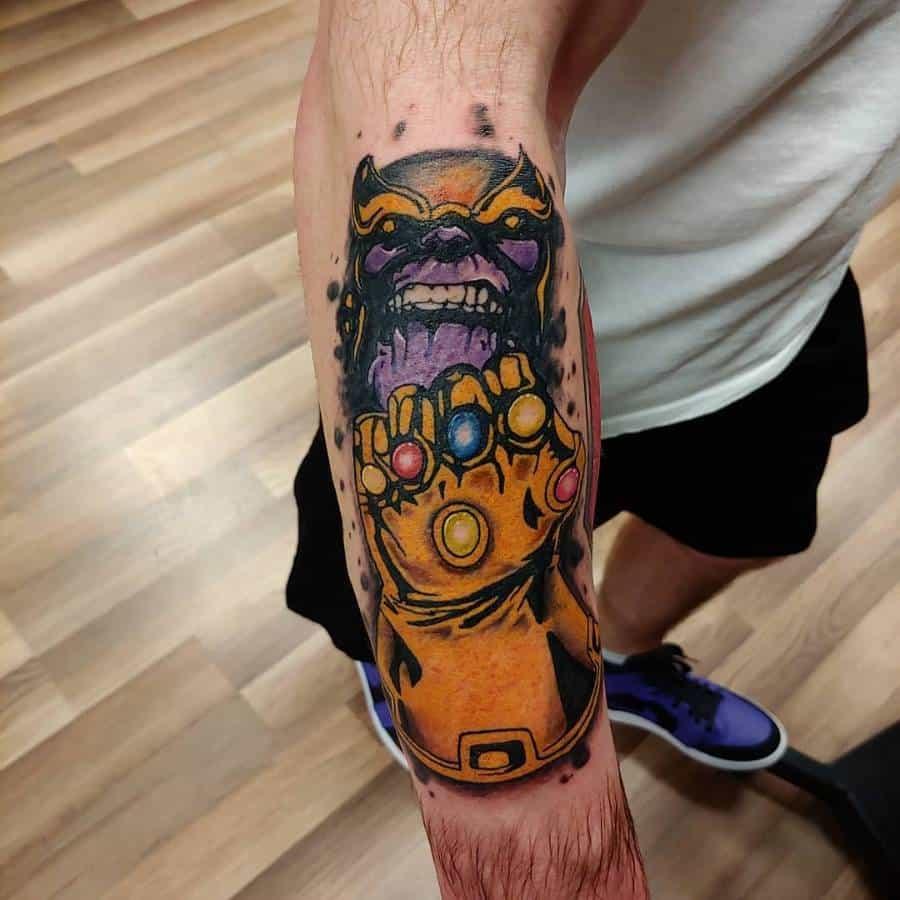 New School Cartoon Thanos Tattoo Inkedvessel