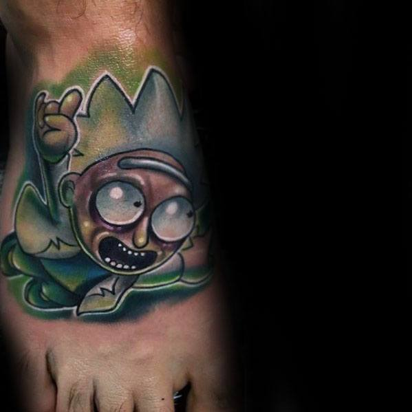 New School Foot Mens Cool Rick And Morty Tattoo Ideas