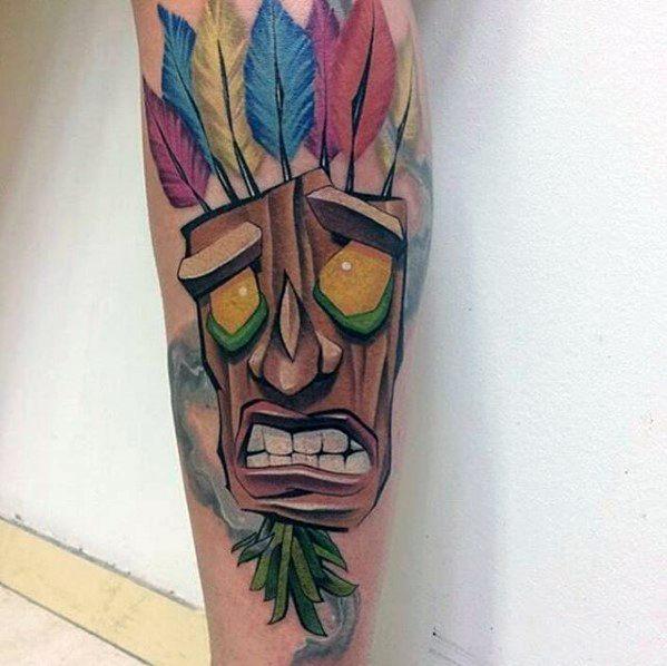 New School Forearm Guys Crash Bandicoot Tattoo Design Ideas