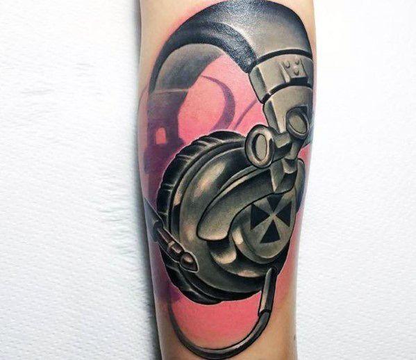 New School Forearm Headphones Male Tattoo Designs