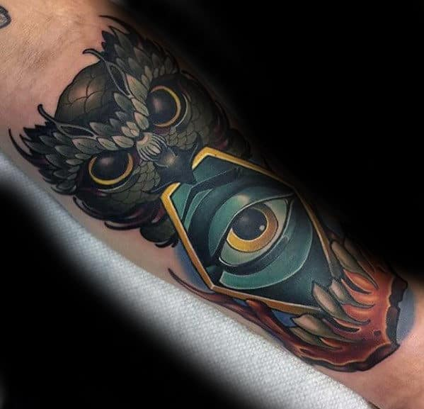 New School Guys Different Eye With Owl Tattoo On Arm