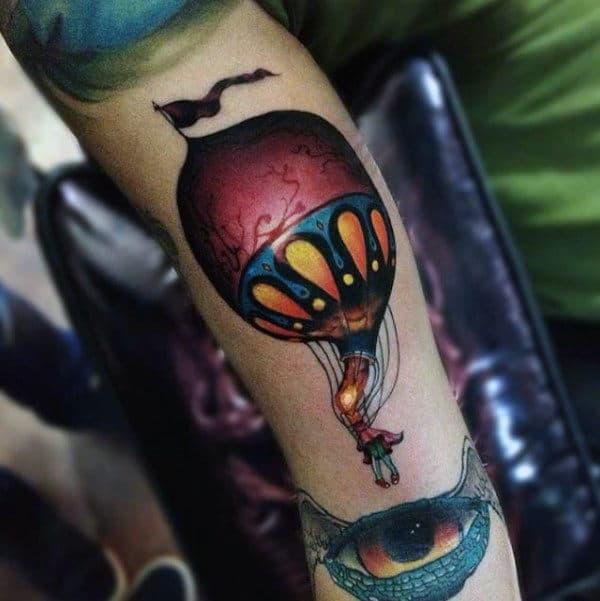 New School Hot Air Balloon Mens Arm Tattoos