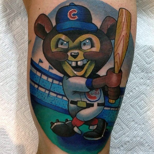 New School Inner Arm Bicep Amazing Baseball Mens Chicago Cubs Tattoo Designs