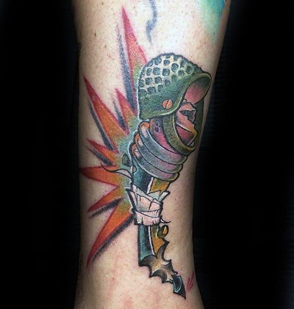 New School Lower Leg Male Pencil With Military Helmet Tattoo Designs