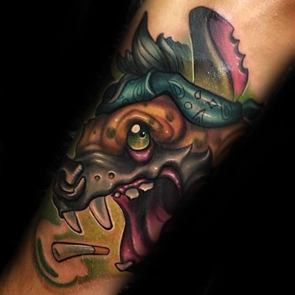 New School Male Hyena Tattoo Ideas On Forearm