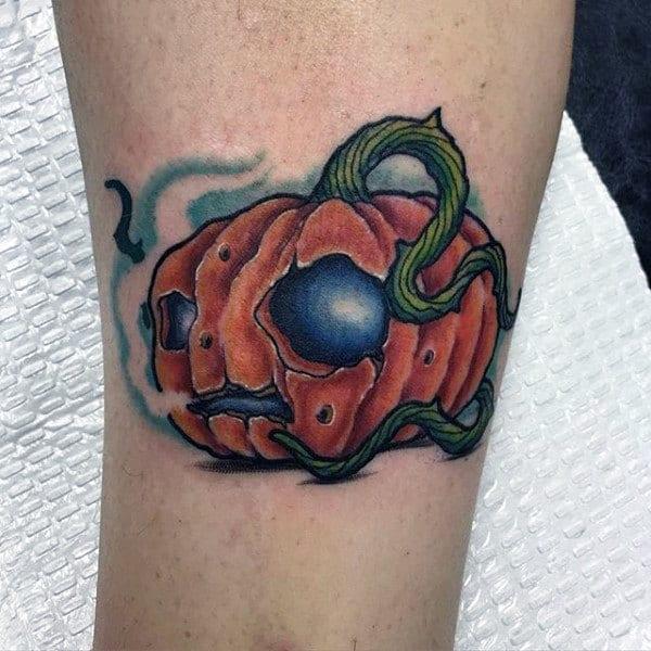 New School Male Pumpkin Arm Tattoo Ideas