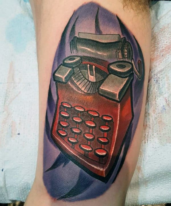 New School Male Typewriter Inner Arm Tattoos