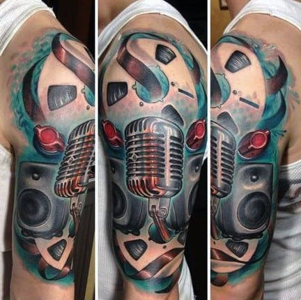 New School Mens 3d Music Half Sleeve Tattoo Designs
