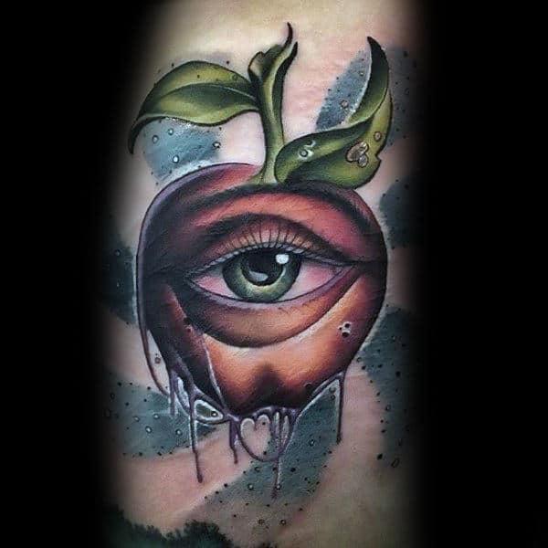New School Mens Apple With Eye Arm Tattoos