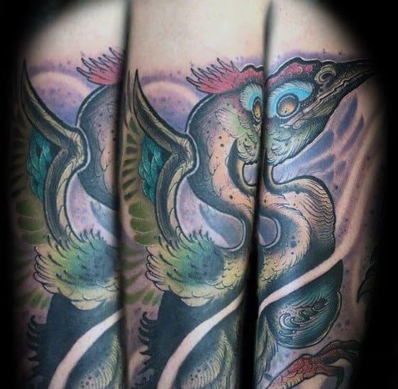 New School Mens Crane Bird Forearm Tattoo Designs
