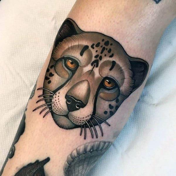 New School Mens Leopard Head Tatoto On Arm