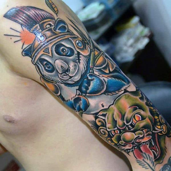 New School Mens Panda Warrior Arm Tattoos