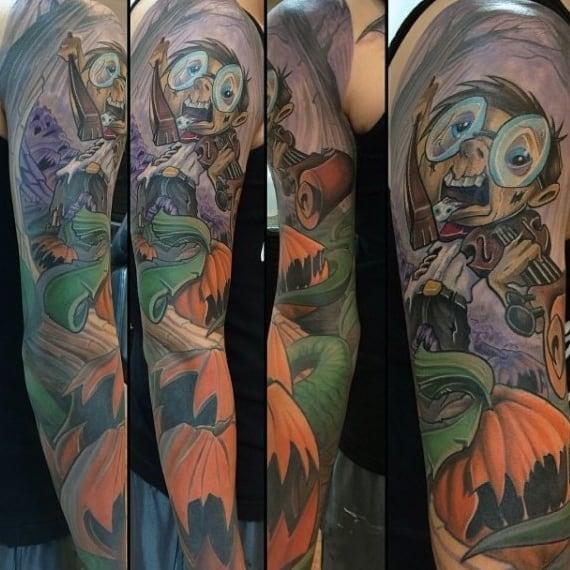 New School Mens Pumpkin Tattoo Sleeve