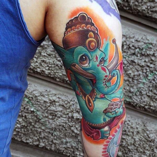 New School Mens Tricep Ganesh Tattoo Designs