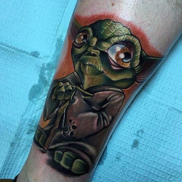 New School Mens Yoda Leg Tattoos