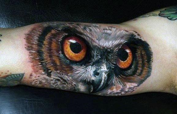New School Owl Men's Tattoos