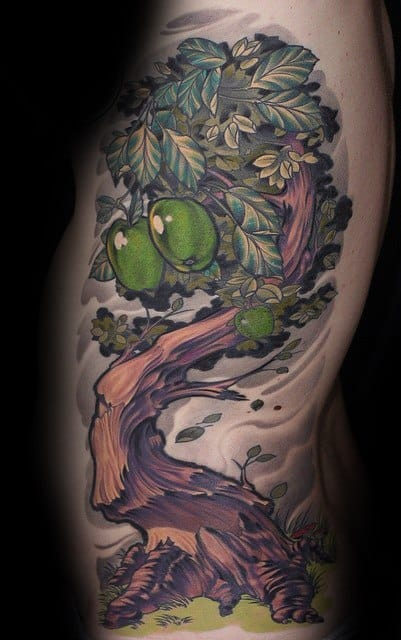 New School Rib Cage Side 3d Olive Tree Mens Tattoo Designs