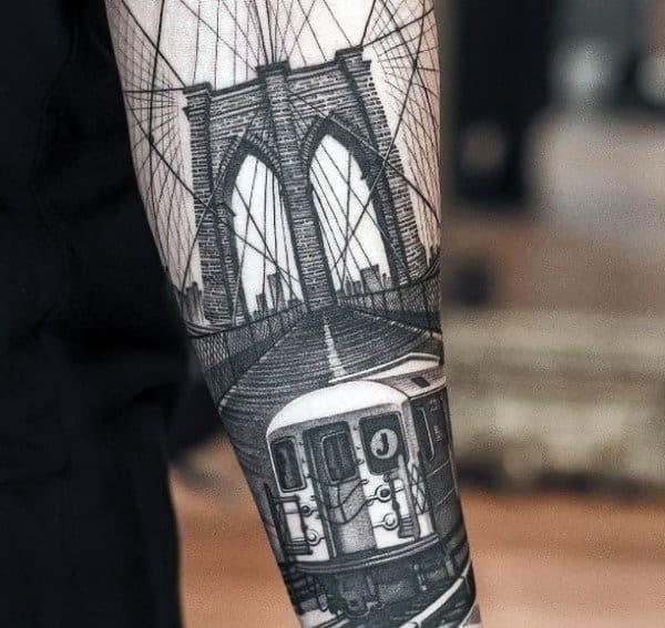 50 bridge tattoo design ideas for men architectural ink for Brooklyn tattoo ideas