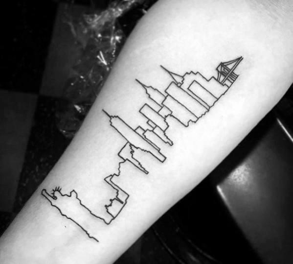 New York City Skyline Black Ink Outline Mens Inner Forearm Tattoo