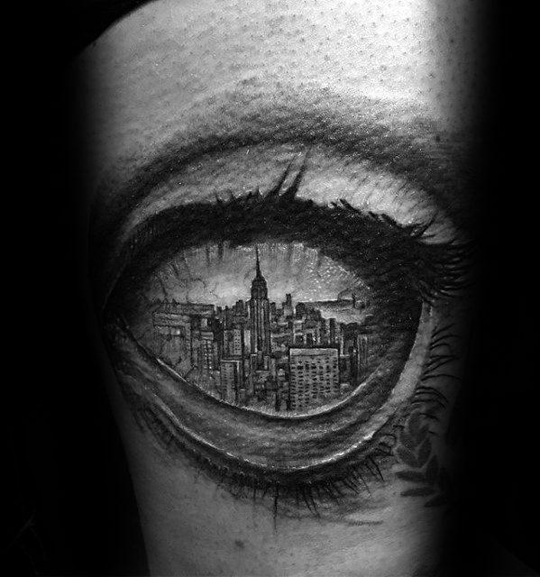 New York City Skyline Eye 3d Tattoos For Gentlemen