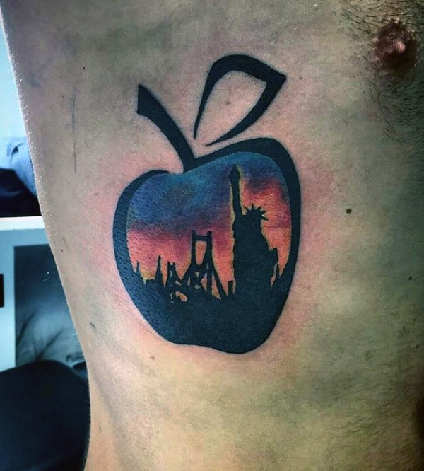75 apple tattoo designs for men bite into ink ideas. Black Bedroom Furniture Sets. Home Design Ideas