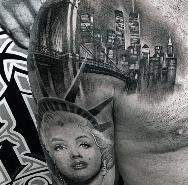 New York City Themed Mens Detailed Upper Chest And Arm Tattoos