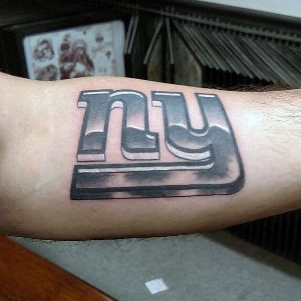 New York Giants Male Football Metallic Logo Tattoo Designs On Arm