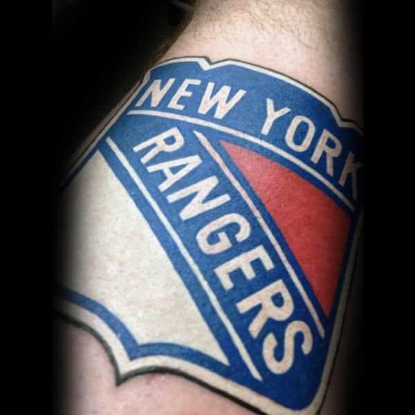 New York Rangers Logo Hockey Tattoo On Man