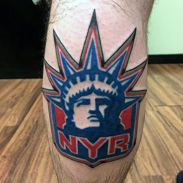 New York Rangers Mens Leg Calf Hockey Logo Tattoo
