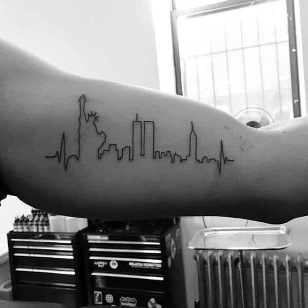 New York Skyline Minimalist Guys Bicep Tattoo