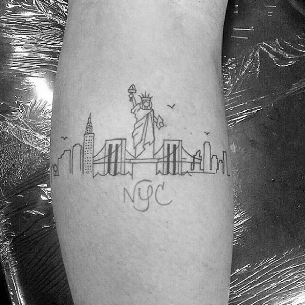 New York Skyline Tattoo Ideas For Males