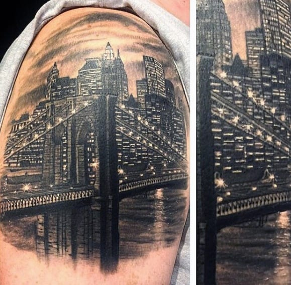 New York Skyline Tattoo On Men