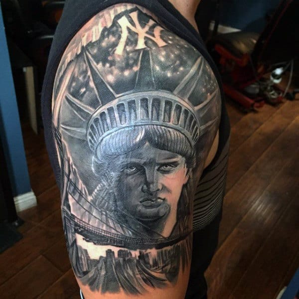 New York Themed Badass Mens Half Sleeve Tattoos
