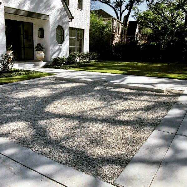 Nice Concrete And Gravel Driveway Exterior Ideas