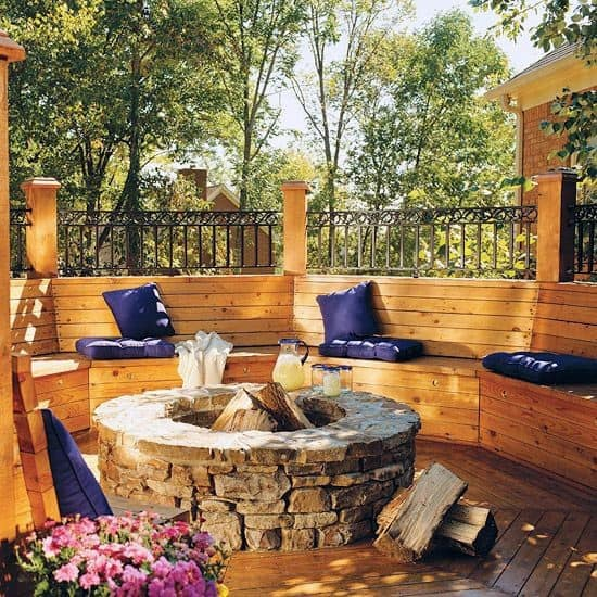 Nice Deck Fire Pit Backyard Ideas