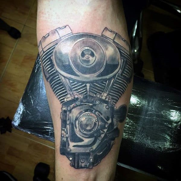 Nice Engine Tattoo Male Forearms