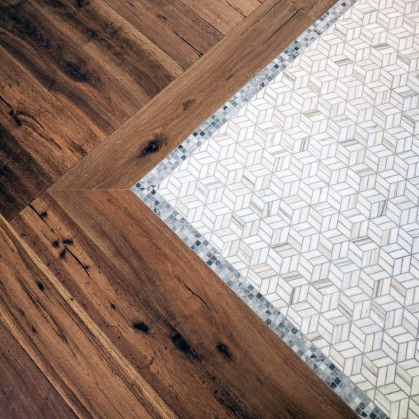 Nice Entryway Tile Interior Ideas With Hardwood Edge
