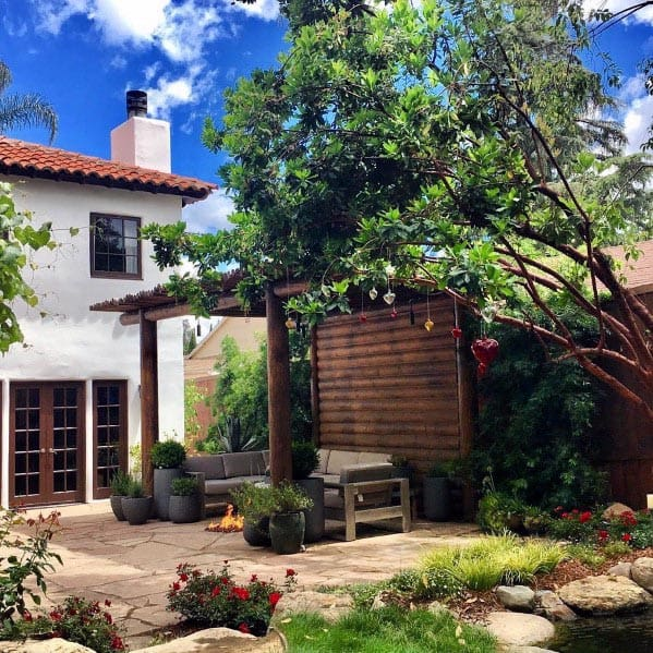 Nice Flagstone Patio Backyard Ideas With Covered Pergola
