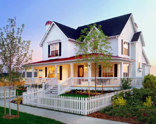 Nice Front Yard White Picket Fence Exterior Ideas