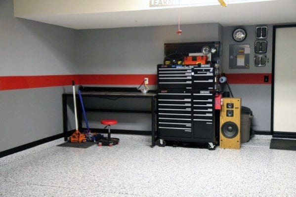 Nice Garage Wall Interior Ideas Painted Grey And Red