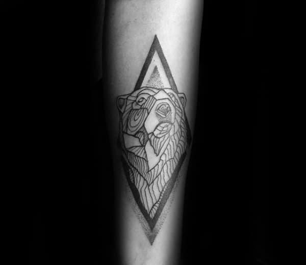 Nice Geometric Bear Forearm Tattoo Design Inspiration For Gentlemen