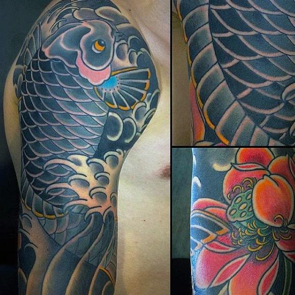 Nice Grey Fish Japanese Sleeve Tattoo For Guys