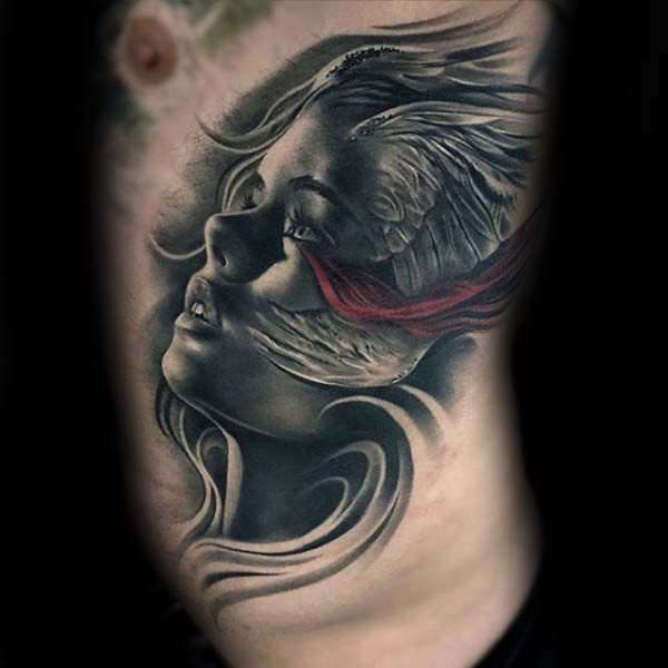 Nice Guys Female Portrait With Wings Rib Cage Side Tattoo