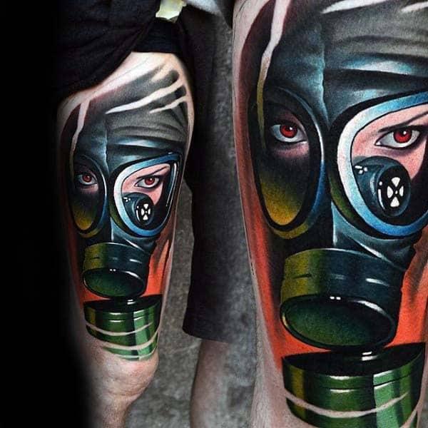 Nice Guys Modern Gask Mask Thigh Tattoos